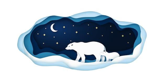 Ilustração de papel da arte com ursos dos polares.