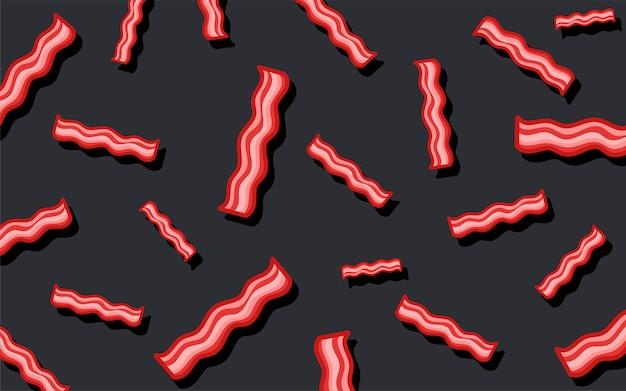 Ilustração de papel de parede de comida bacon padrão