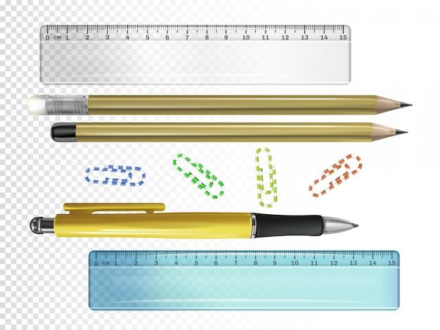 Ilustração de papelaria de faculdade de caneta de tinta 3d, lápis com borrachas e réguas ou clipes de papel