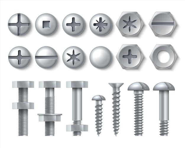Ilustração de parafuso de metal e parafuso