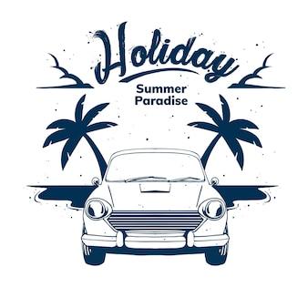 Ilustração de paraíso de verão férias