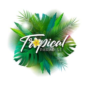 Ilustração de paraíso tropical de verão com folhas de palmeira exóticas