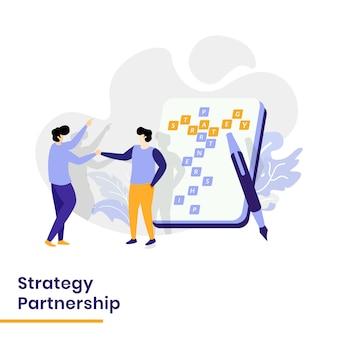 Ilustração de parceria estratégica da página de destino