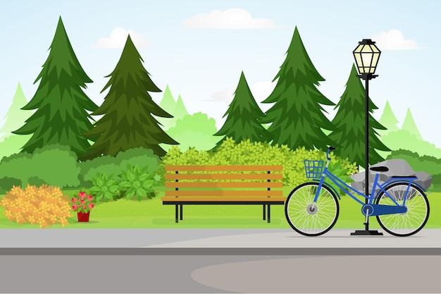 Ilustração de park with bench and lamppost