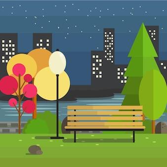 Ilustração de park with bench in night view com fundo da cidade em estilo plano