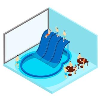 Ilustração de parque aquático indoor