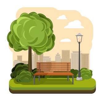 Ilustração de parque com banco e poste de luz