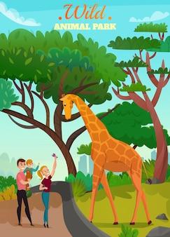 Ilustração de parque de animais selvagens