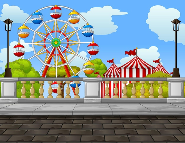 Ilustração de parque de diversões no meio da cidade
