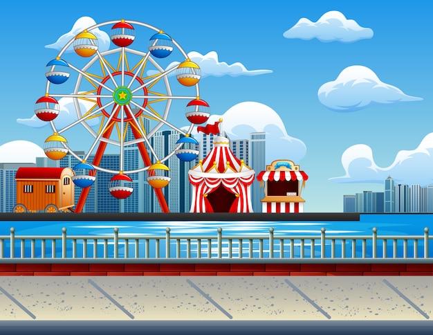 Ilustração, de, parque divertimento