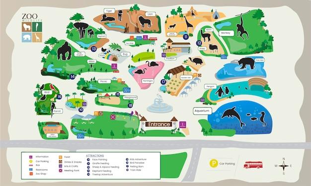 Ilustração, de, parque jardim zoológico, mapa