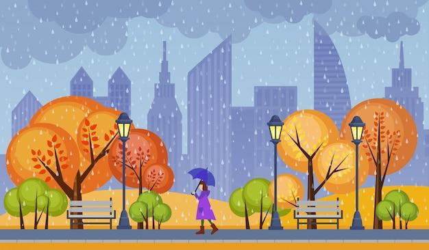 Ilustração de parque público cidade outono. tempo frio chuvoso com menina andando sozinho