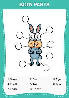 Ilustração de parte de vocabulário de coelho do corpo, escreva os números corretos de partes do corpo.