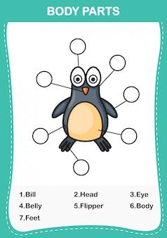 Ilustração de parte do vocabulário de pinguim do corpo, escrever os números corretos de partes do corpo.