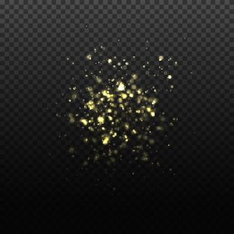 Ilustração de partículas douradas caindo transparentes