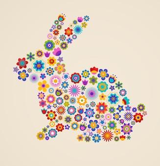 Ilustração de páscoa com coelho decorado com flores