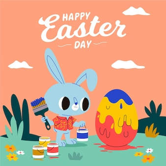 Ilustração de páscoa com coelho pintando ovo