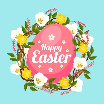 Ilustração de páscoa com ovo e flores