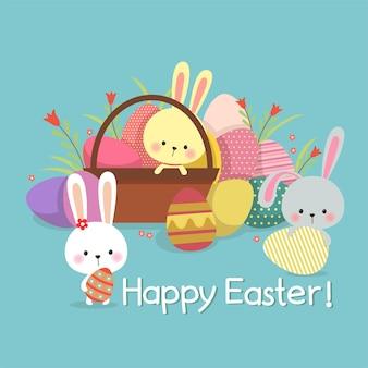 Ilustração de páscoa com ovos coloridos e coelhinhos fofos no fundo da primavera