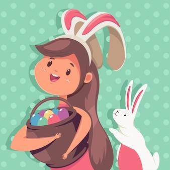 Ilustração de páscoa com uma garota feliz com orelhas de coelho, uma cesta com ovos e um coelho fofo. imagem de férias dos desenhos animados.