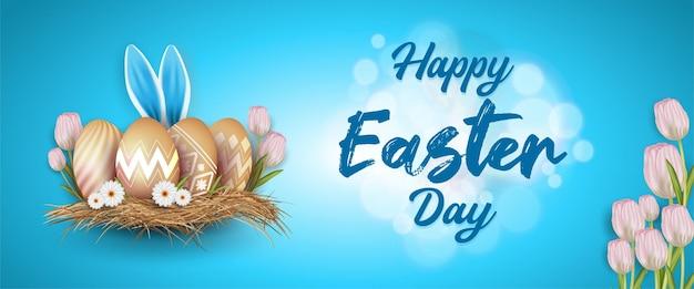 Ilustração de páscoa feliz com ovo estampado e orelhas de coelho