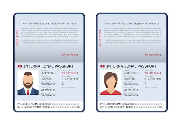 Ilustração de passaportes internacionais abertos