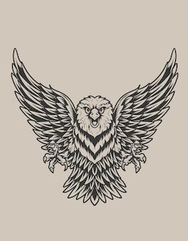 Ilustração de pássaro águia com estilo monocromático