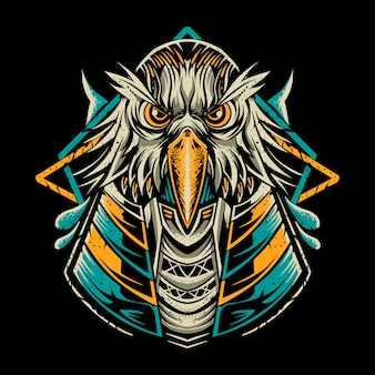 Ilustração de pássaro anubis isolada no escuro
