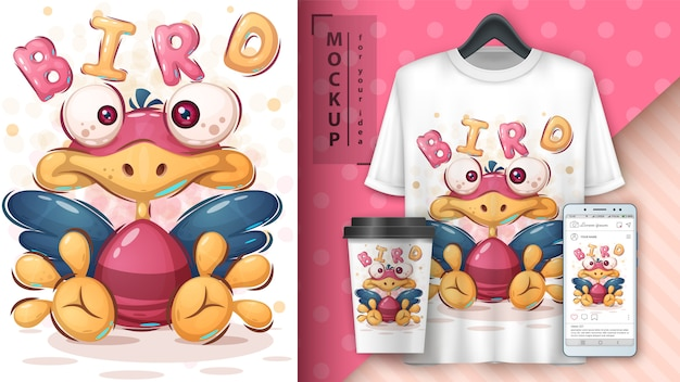 Ilustração de pássaro bonito e merchandising
