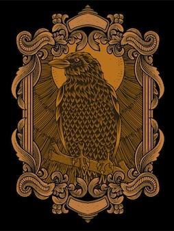 Ilustração de pássaro corvo antigo em ornamento de gravura