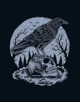 Ilustração de pássaro corvo assustador com crânio