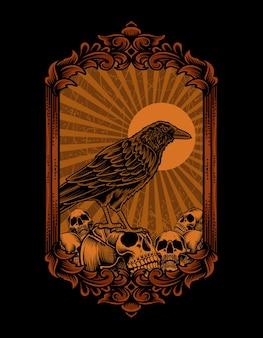 Ilustração de pássaro corvo com cabeça de caveira
