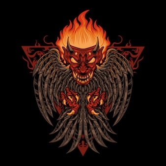 Ilustração de pássaro demônio