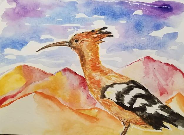 Ilustração de pássaro desenhada à mão em aquarela