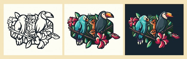 Ilustração de pássaro logoo