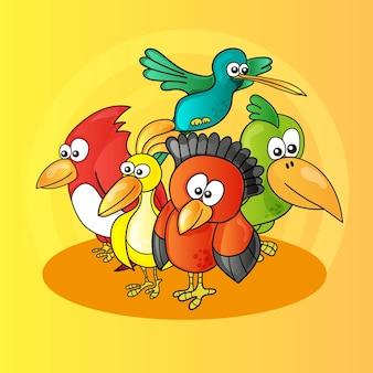 Ilustração de pássaros de personagens de desenhos animados engraçados em fundo amarelo