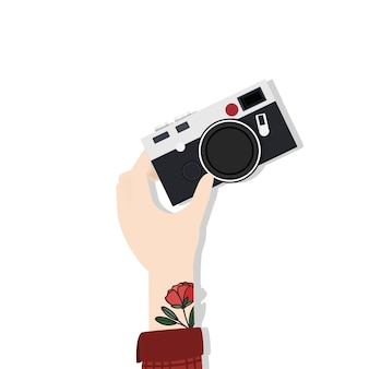Ilustração, de, passe segurar, câmera
