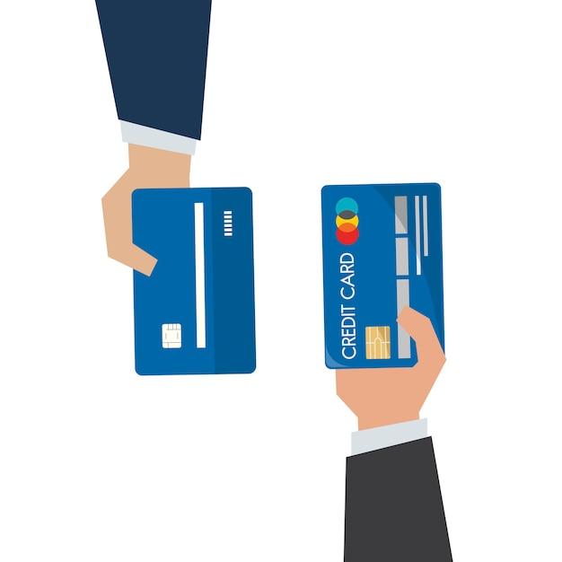 Ilustração, de, passe segurar, cartão crédito