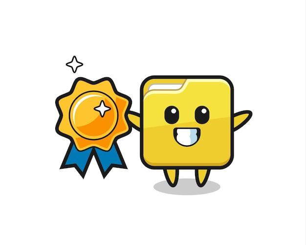 Ilustração de pasta de mascote segurando um emblema dourado, design de estilo fofo para camiseta, adesivo, elemento de logotipo