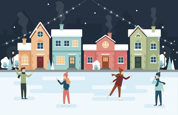 Ilustração de patinação no gelo nas férias de inverno