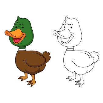 Ilustração de pato educativo para colorir