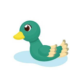 Ilustração de pato nadando com estilo cartoon
