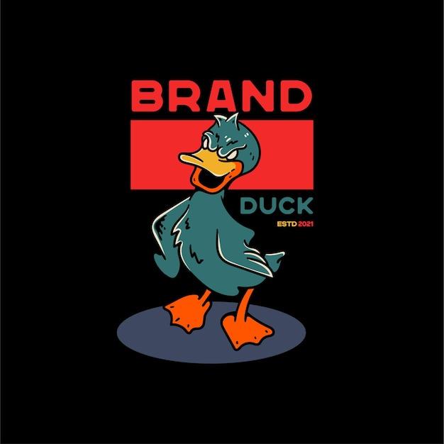Ilustração de pato vintage para camiseta