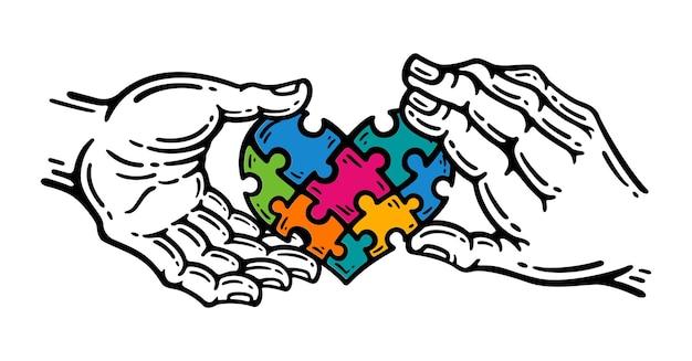 Ilustração de peças do quebra-cabeça em formato de coração de amor com a ilustração da mão simbolizando a ajuda