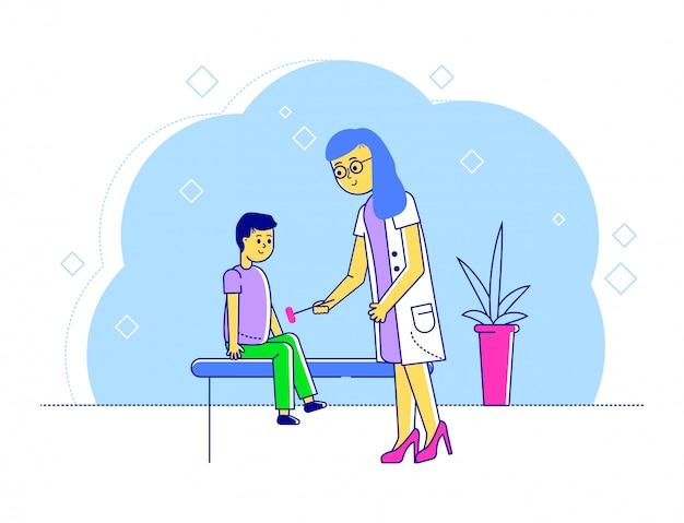 Ilustração de pediatra de médico de linha, mãe feliz dos desenhos animados e personagens de garoto garoto visitando especialista para exame médico