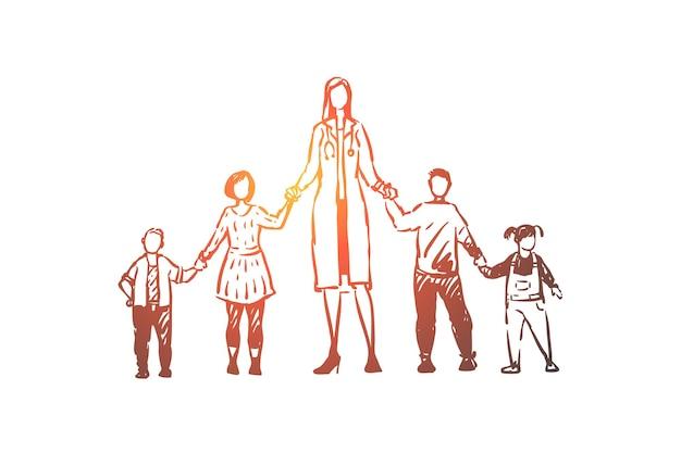 Ilustração de pediatra, meninos e meninas de mãos dadas