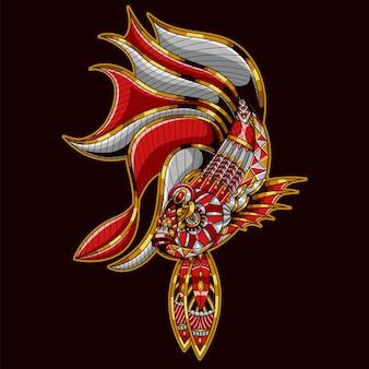 Ilustração de peixe betta, colorida