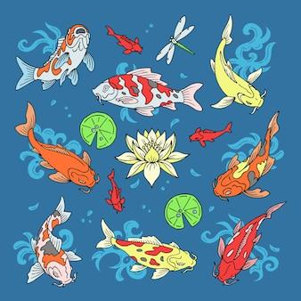 Ilustração de peixe carpa japonesa