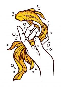 Ilustração de peixe e mão