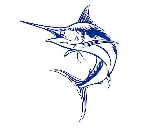 Ilustração de peixe-espada para logotipo e elemento de marca monocromático
